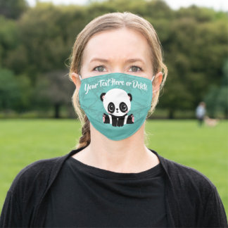 Your Text/Color Cute Baby Panda Bear n Bamboo Blue Adult Cloth Face Mask