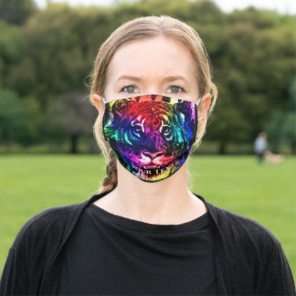 Your Text Rainbow Exotic Tiger Jungle Animal Cool Adult Cloth Face Mask