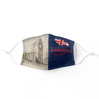 Your Text Retro London Big Ben Union Jack Heart Adult Cloth Face Mask