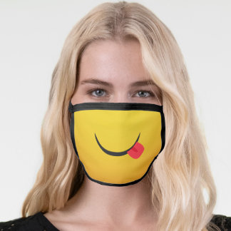 Yummy yellow emoticon fun sticking out tongue face mask