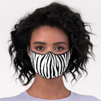 Zebra stripes pattern black white animal print premium face mask