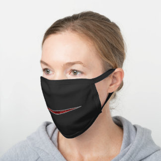 Zipper Smile in Gothic Red Fun Fashion Black Cotton Face Mask