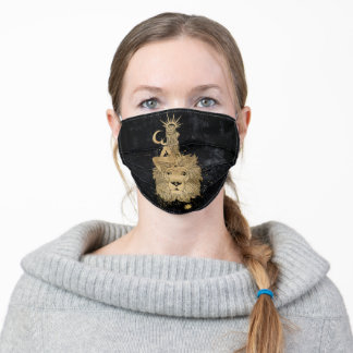 Zodiac Leo | Cosmic Gold and Black Astrology Adult Cloth Face Mask