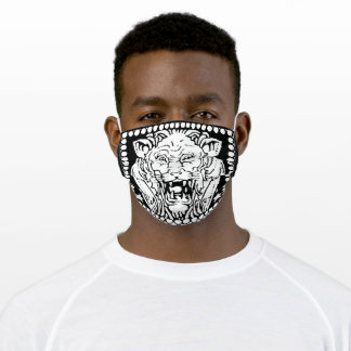 Zodiac Sign Leo Modern Black and White Adult Cloth Face Mask