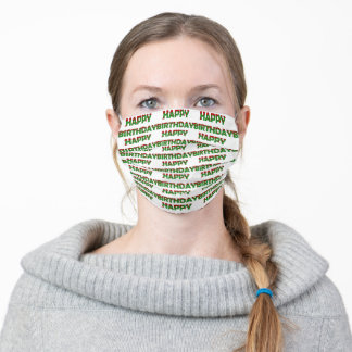 Zombie Birthday Green and Red Letters Cloth Face Mask