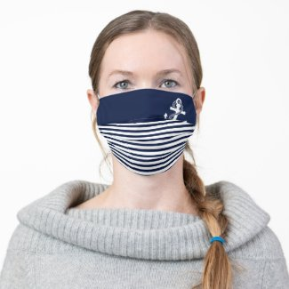 Face Mask with blue and white stripes anchor