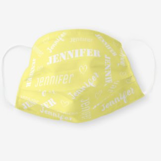 yellow cotton face mask customized with your name reusable with insert slot for filter