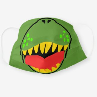 dinosaur t-rex face mask for children in green yellow red