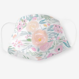 Face mask with floral design in pastel colors