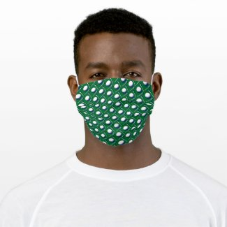 Green cloth face mask with golf balls