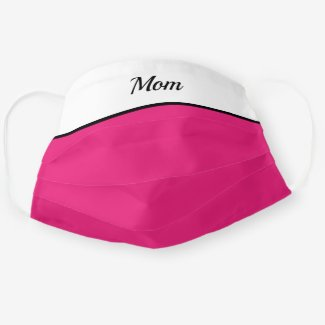 Mom face mask in white and pink