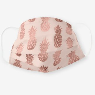 Pink face mask in soft pink and pineapple pattern